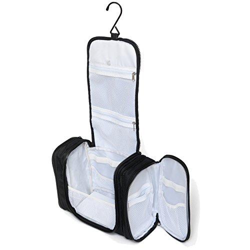 Bolsa de Aseo Colgable Extra Grande de Walden. Neceser negro tamaño familiar para hombres / mujeres con un gancho+cremallera robustos y compartimento para artículos de aseo personal.