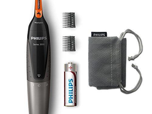 Philips NT3160/10 – Recortador de vello, nariz y orejas, resistente al agua, color negro y plateado